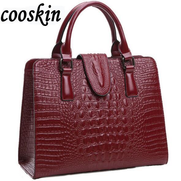 ФОТО 2017 Women's Genuine leather bag ladies crocodile pattern Women messenger bag handbag women famous brand designer high quality