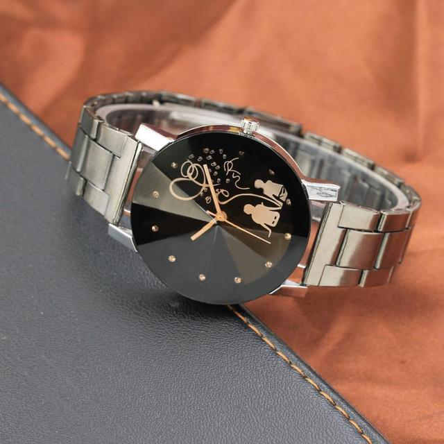 Vintage Lover Unisex Watch Women Men Clock Luxury Student Couple Stylish Spire Glass Steel Band Quartz Watch Free shipping 40p
