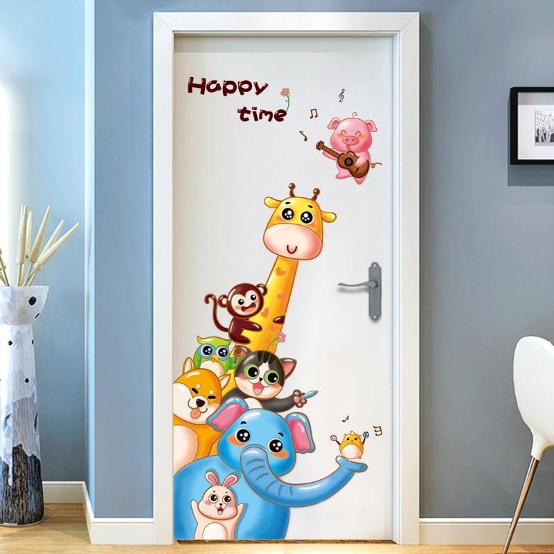 Door Stickers Cartoon Anime Cute Animal Children Living Room Creative Decoration Self-adhesive Wall Stickers Stickers