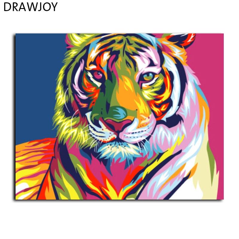 DRAWJOY Incorniciato Pittura By Numbers Di Astratto Tigre FAI DA TE Olio Su Tela Decorazione Della Casa Della Parete Aar GX9203 40*50 cm