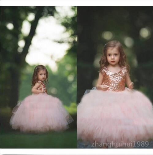 Blush Sequins Tulle  Pageant Gown Formal Ball flower bow tulle party dress children winter land 10 x10 cp computer painted scenic photography background photo studio backdrop zjz 810