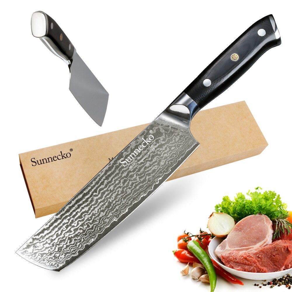 """Ev ve Bahçe'ten Mutfak Bıçakları'de SUNNECKO şef bıçağı 7 """"inç Cleaver Mutfak Bıçakları Japon 73 Katmanlar Şam VG10 Çelik Keskin Bıçak G10 Kolu kesici aletler'da  Grup 1"""