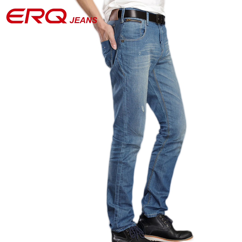 ERQ New Fashion men Denim jeans Young cowboy pants mid-waist straight  jeans regular trousers midweight casual pants 903021