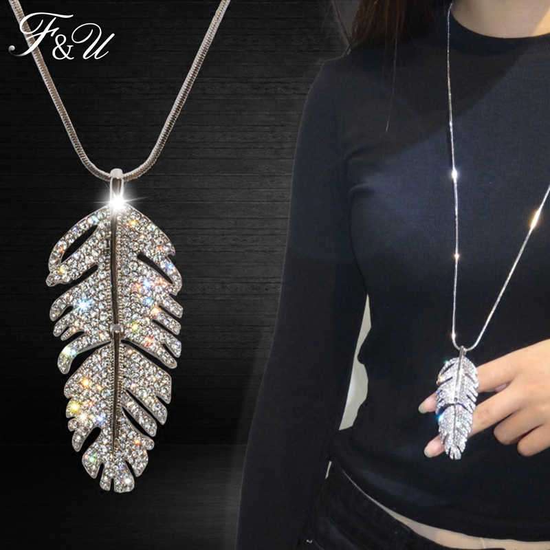 F&U Women Jewelry Trendy Big Leaf Rhinestone Pendants Long Sweater Chain Necklace Colar Bijoux Femme Gift