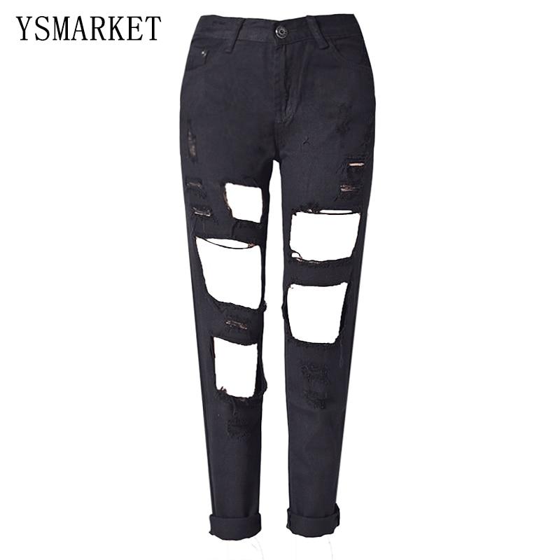 ФОТО Punk Rock Boyfriend Hole Ripped Jeans Women Pants Black Denim Vintage Straight Jeans For Girls Mid Waist Slim Casual Pants E1119