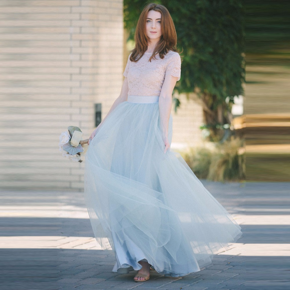 Bohemian light sky blue yellow mint mint green coral color color long tulle skirt for women - Light blue and mint green ...