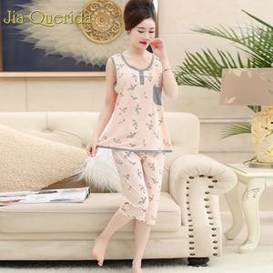 Image 5 - Pijamas grandes para mujer, novedad de 2019, conjunto de ropa de casa de algodón Floral, pantalones cortos de noche, de talla grande 4xl Pijama de algodón, verano Rosa Pj
