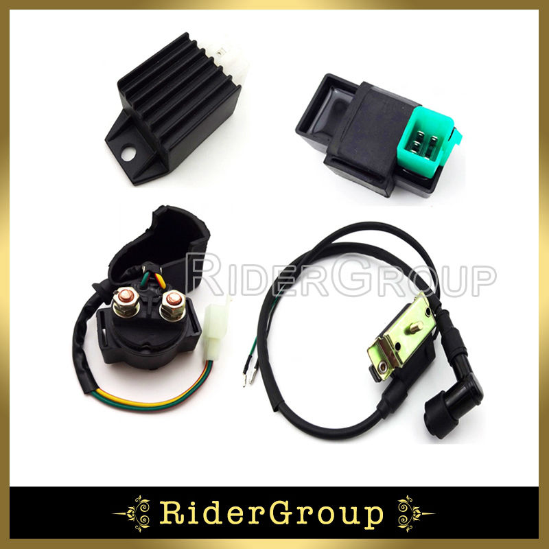 ATV Quad 4 Wheeler Ignition Coil CDI Solenoid Relay Rectifier Regulator Kit For Kazuma Meerkat 50cc aliexpress com buy atv quad 4 wheeler ignition coil cdi solenoid  at crackthecode.co