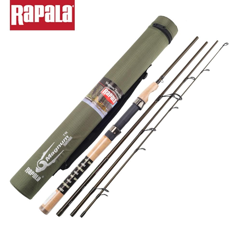 Prix pour Marque Rapala Magnum 4 Sections M Puissance 1.98 M 2.1 M Carbone Fiber De Pêche Spinning Rod Baitcasting Leurre De Pêche Bâton avec Tige sac