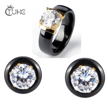 585 Gold Color Big 2.0 Carat Rhinestone Jewelry Set Fashion Jewelry Bling Crystal Ceramic Rings Stud Earrings Women Wedding Gift(China)