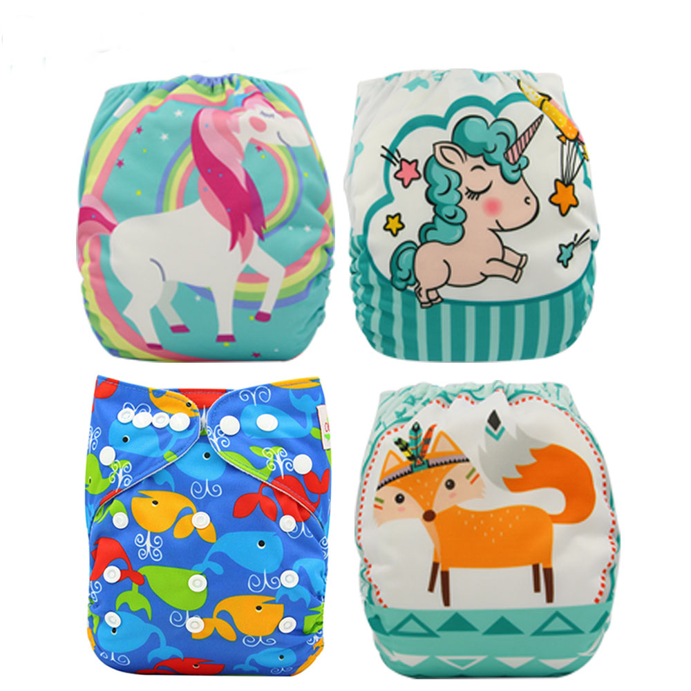 Baby Diapers Reusable Nappies Couche Lavable Ohbabyka Newborn Cloth Diaper Cover Unicorn Animal Diaper Training Pants
