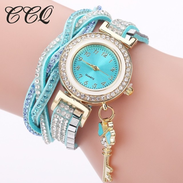 CCQ Brand Women Bracelet Watch Casual Fashion Ladies Leather Crystal Key Pendant