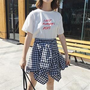 Image 2 - Женская винтажная клетчатая юбка, асимметричная юбка в стиле бохо с высокой талией, поясом и бантом, весна лето 202