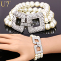 U7 Simulated Pearl Bracelets For Women Jewelry Wholesale Simulated Pearl Rhinestone Multi Layer Bracelet H767