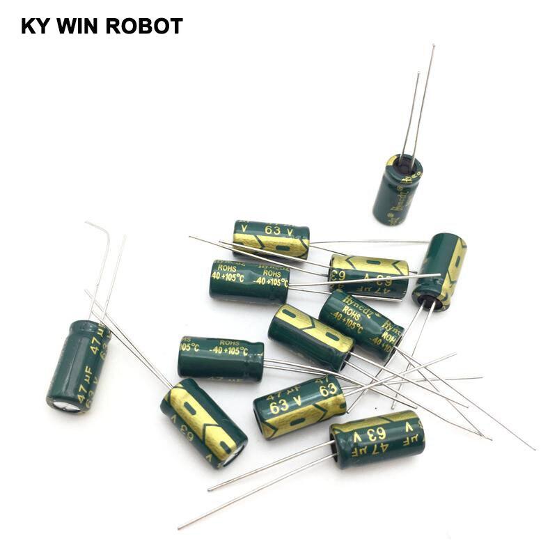 50pcs/lot 47UF 63V 105C 6X12mm Aluminum Electrolytic Capacitor 63V47UF Radial Lead 50pcs