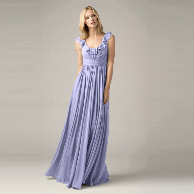 Sky Blue Bridesmaid Dresses Chiffon Plus Size Semi Formal Party
