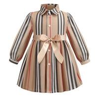 Girls Dress Long Sleeve 2019 Autumn Kids Dresses For Girls Striped Bow Children Princess Dresses Toddler Girl Clothing 2 6Years