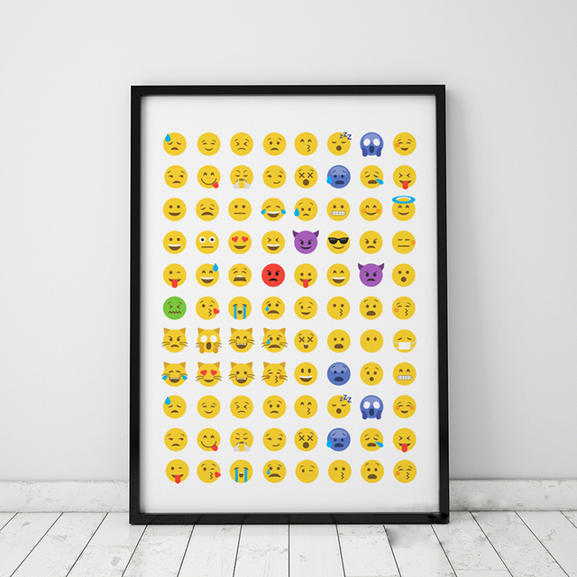 Cartoon Emoji Canvas Art Print Poster, Wall Pictures for Home ...