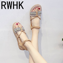 RWHK Sandals female 2019 new word buckle womens shoes fashion Korean version of the open toe color sandals casual flat B087