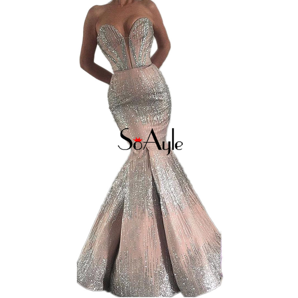 SoAyle Vestidos de festa longo Sweetheart Mermaid Evening Dresses 2018  Silver Meteor Sequin Arabia Dubai Fashion Prom Dresses a63705c25229