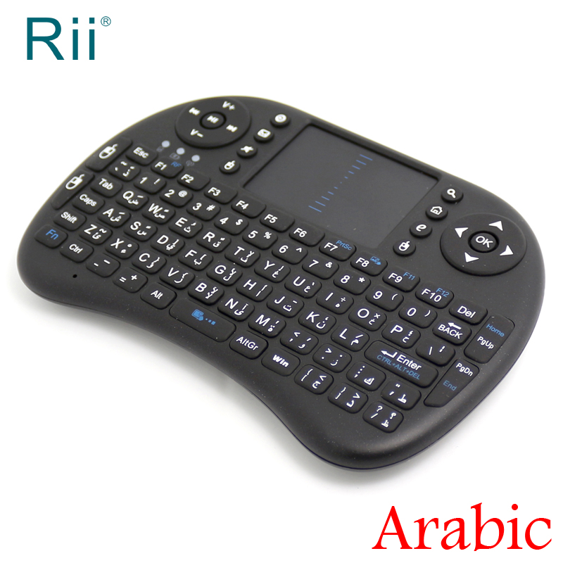 [Бесплатная доставка] Оригинальный Rii Мини 2.4 г Беспроводной английский/арабский клавиатура + Air Мышь с сенсорной панелью для ТВ коробка/pc выс... ...