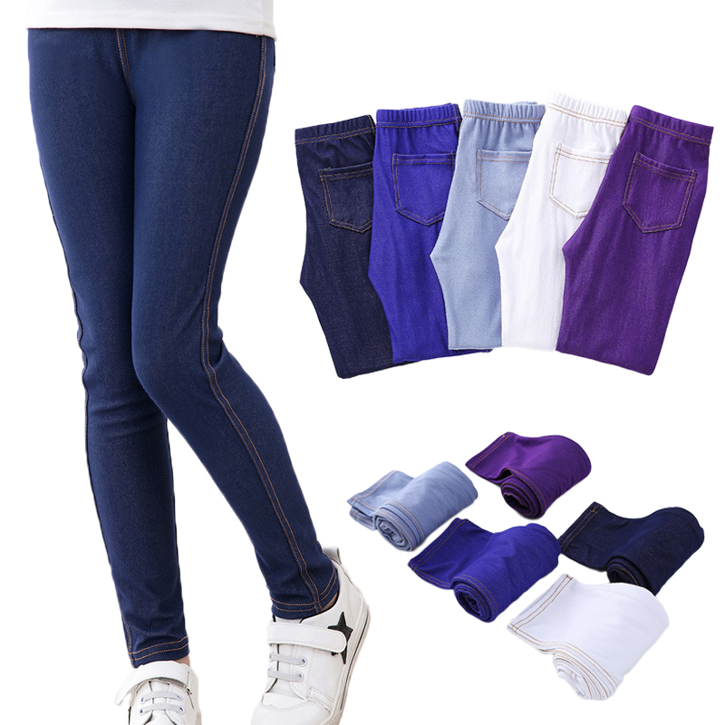 цена Spring Summer Girls Elastic Skinny Pants Solid Color Kids Stretch Trousers 3-12Yrs Children Lmitation Denim Fabric Jeans Pants