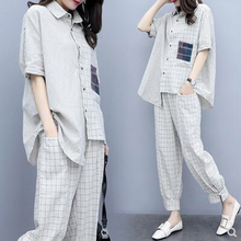 Plaid 2 Piece Set Outfits for Women Fashion Matching Co-ord Plus Size Top and Pant Suits 2019 Summer Designer White Clothing