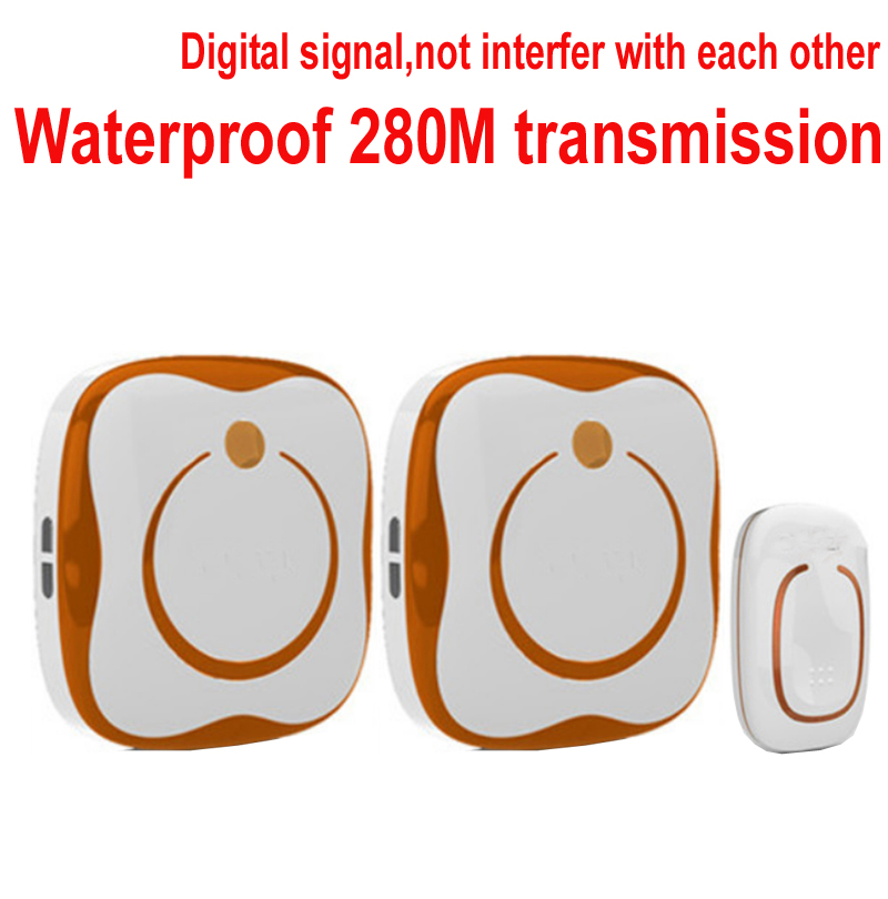 real Waterproof ring 280M Long-range wireless doorbell 2 receivers wireless door chime,wireless bell w/ 48 melodies & 16 chord 2 receivers 60 buzzers wireless restaurant buzzer caller table call calling button waiter pager system