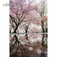 Laeacco Pink Blossom Cherry Flowers Spring Tree Lake Surface Natural Scenic Photo Background Photographic Backdrop Studio
