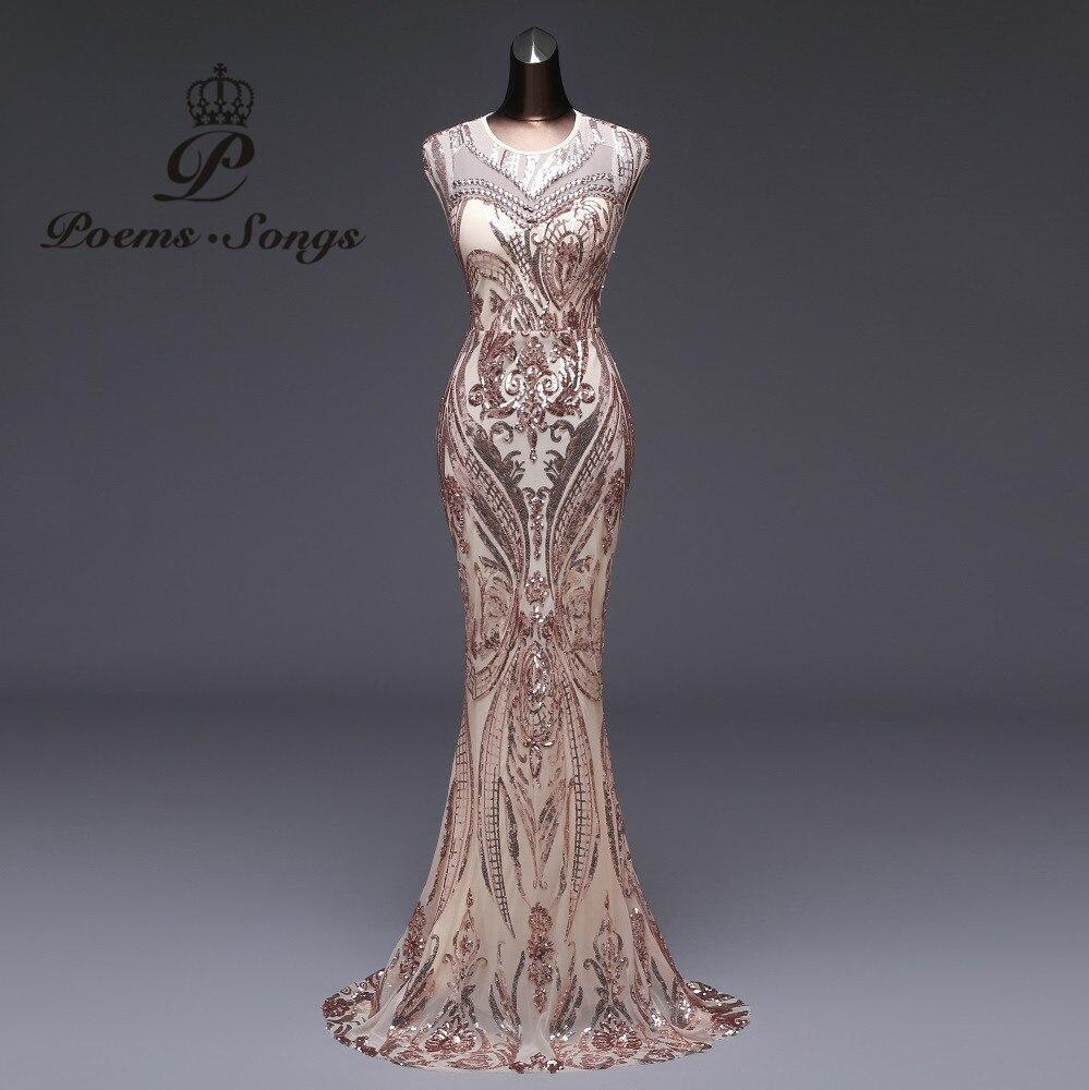 詩曲 2019 マーメイドフォーマルイブニングドレスウエディングドレスパーティードレス vestido デ · フェスタセクシーな背中の高級スパンコールローブは longue  グループ上の ウェディング & イベント からの イブニングドレス の中 1