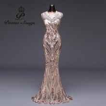 Neue stil Meerjungfrau Abendkleid Luxus Pailletten prom kleider Party kleid vestido de festa Sexy Backless robe longue vestido de mujer