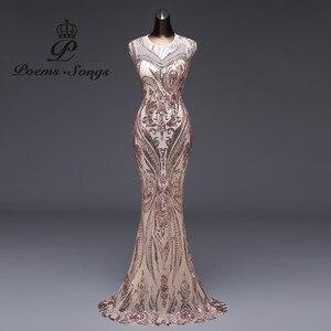 Image 1 - New style Mermaid Evening Dress Luxury Sequin prom gowns Party dress vestido de festa Sexy Backless robe longue vestido de mujer