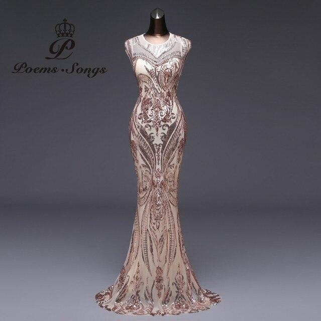 New style Mermaid Evening Dress Luxury Sequin prom gowns Party dress vestido de festa Sexy Backless robe longue vestido de mujer