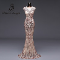 Poems Songs 2019 Mermaid Formal Evening Dress prom gowns Party dress vestido de festa Sexy Backless Luxury Sequin robe longue