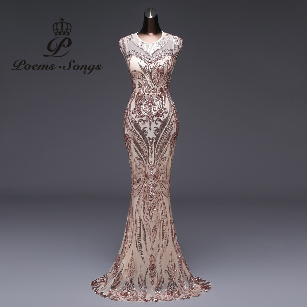 Prom-Gowns Robe Longue Party-Dress Sequin Mermaid Vestido-De-Festa Backless Poems Songs title=