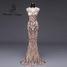 Prom-Gowns Robe Longue Party-Dress Sequin Mermaid Backless Formal Sexy Luxury Poems Songs