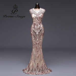 Image 1 - 新スタイルマーメイドイブニングドレス高級スパンコールウエディングドレスパーティードレス vestido デ · フェスタセクシーな背中のローブは longue vestido デ mujer