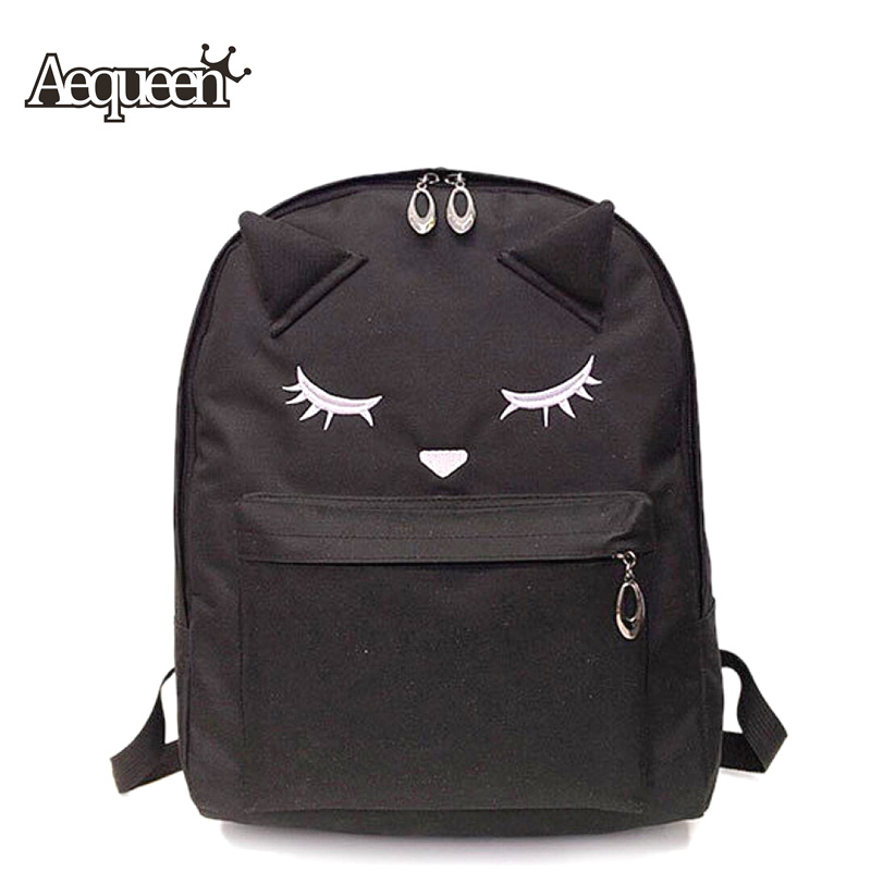 Aequeen Cute Cartoon Embroidery Cat Printing Backpack Women Shoulder Bags  For Teenagers Girls Large Capacity To School  Pack