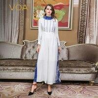 VOA плюс размеры 5XL шелк офисные комбинезоны Вечерние белый печати тонкий высокая талия фонари с длинным рукавом широкие брюки весна K326