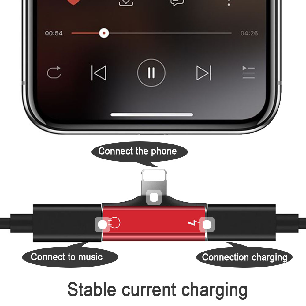 2 IN 1 Mini Double Lighting Adapter For <font><b>Iphone</b></font> 8 <font><b>7</b></font> Plus 6S X XS MAX XR Charging Converter Listening Audio <font><b>Adaptor</b></font> AUX Splitter image
