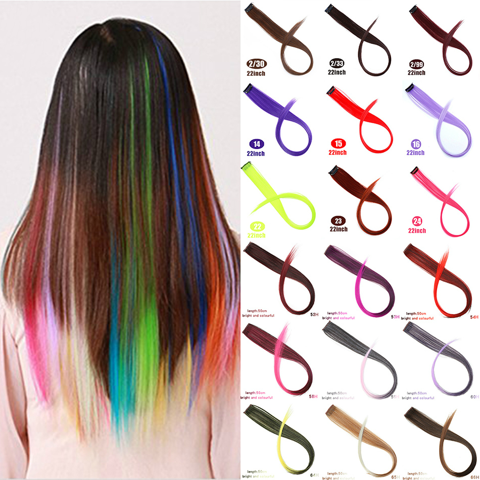 Long Straight Fake Colored Hair Extensions Clip In Highlight Rainbow Streak Pink Synthetic Strands on Clips