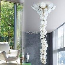 Современный латунный люстра светильник ing светодиодный люстры стеклянная люстра лампа лестница Медный Подвесной светильник для гостиной столовой