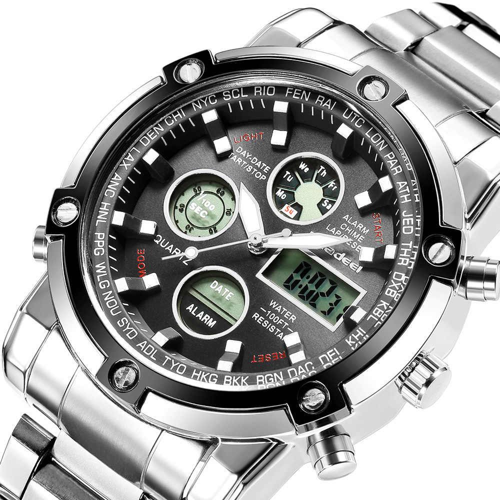 יוקרה מותג הצבא הצבאי ספורט שעונים מלא פלדת גברים שעון LED שעון דיגיטלי לגברים חיצוני הלם עמיד עמיד למים זכר