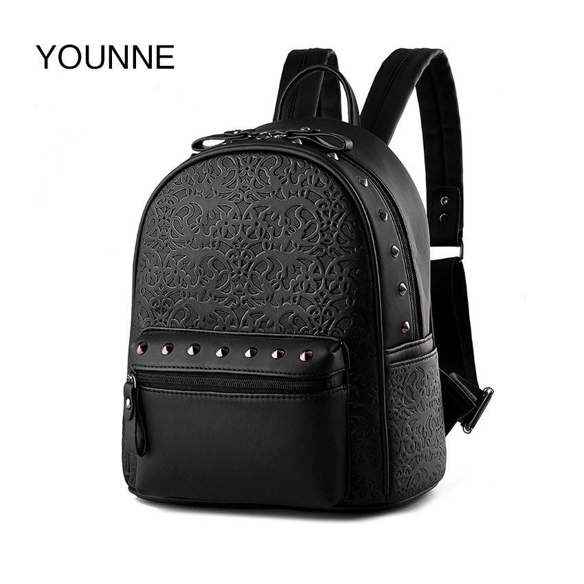 YOUNNE Women Fashion Backpack Female Pattern Design Solid Color Backpacks Lady Daily Black Shoulder Bag Young Girl Rivet Bags free shipping new fashion brand women s single shoulder bag lady messenger bag litchi pattern solid color 100