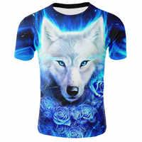 Lo más nuevo de 2019 camiseta divertida fresca con estampado de lobo en 3D para hombre, camisetas de verano de manga corta, camisetas de moda, tamaño XXS-4XL envío gratis