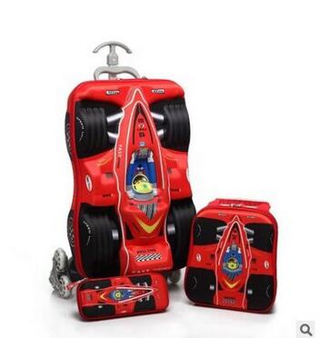 Boy's Car trolley case wheeled Rolling Bag 3D Children Travel suitcase Trolley School Backpack Kid's Trolley Bags with wheels