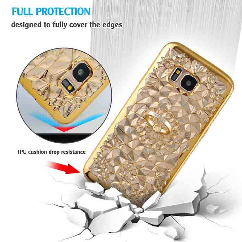 Diamond Glitter Case for Samsung Galaxy A7 2018 A6 Plus Cover Ring Holder Shockproof Coque for Samsung A5 2018 A8 Phone Case