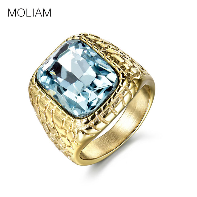 MOLIAM Unique Stainless Steel Mens Rings Engraved Light Blue Stone Jewelry Fashi