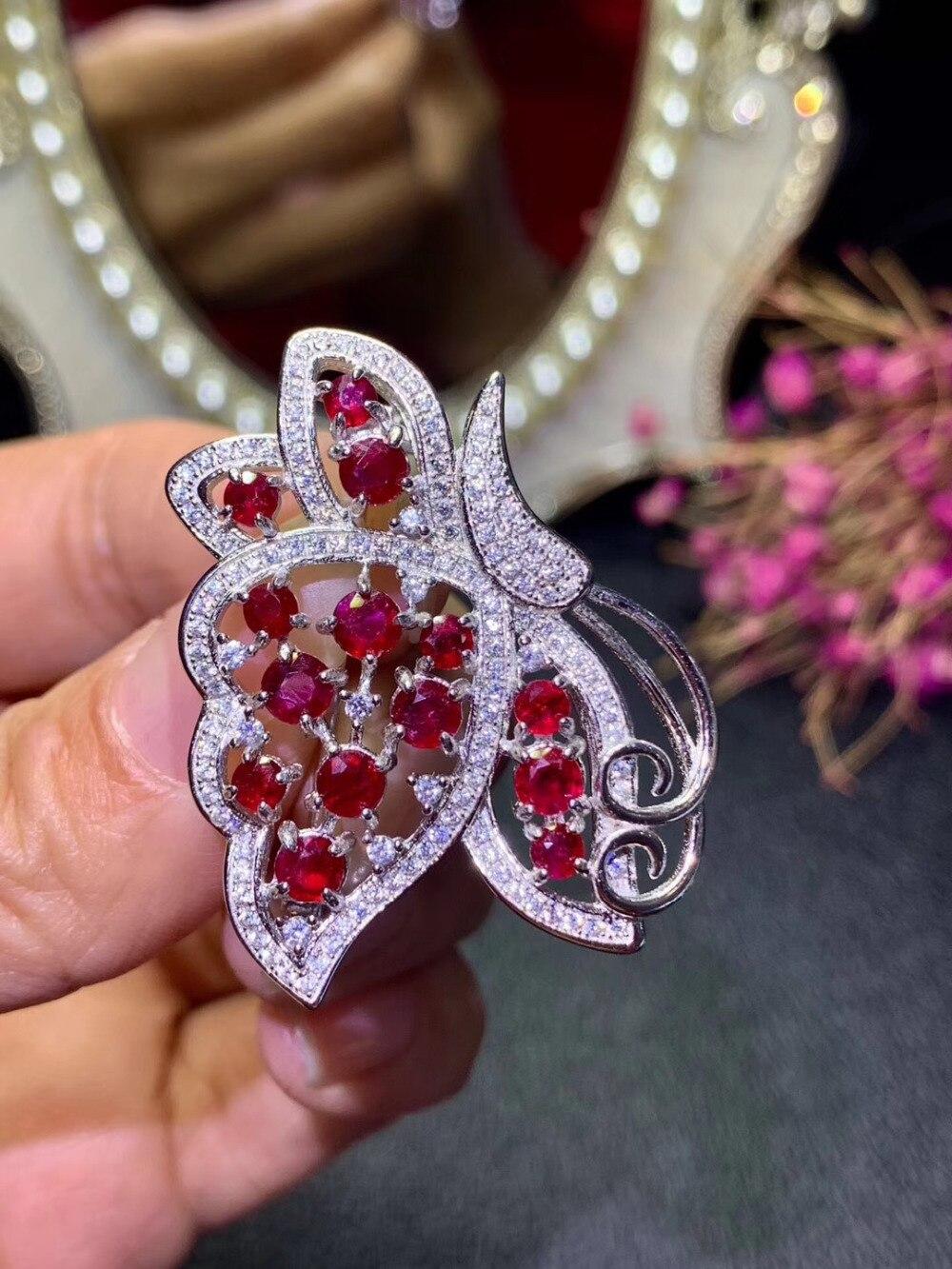 Broches de GEMA de rubí rojo Natural colgante S925 broches de piedras preciosas naturales de plata moda grace mariposa novia boda joyería - 2
