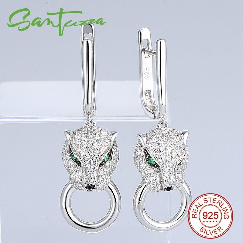 SANTUZZA argent ensemble de bijoux pour les femmes pur 925 en argent Sterling à la mode panthère anneau boucles d'oreilles pendentif ensemble blanc CZ bijoux de mode - 3